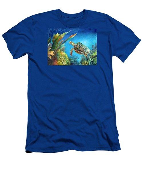 Sea Escape Iv - Hawksbill Turtle Flying Free Men's T-Shirt (Slim Fit) by Nancy Tilles