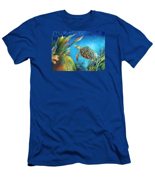 Sea Escape Iv - Hawksbill Turtle Flying Free Men's T-Shirt (Athletic Fit)