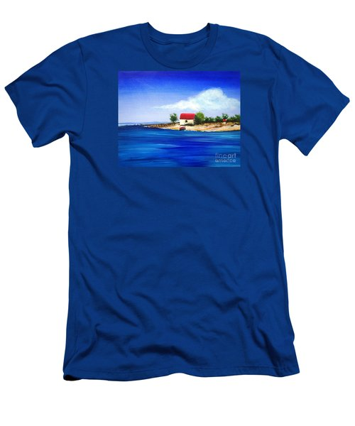 Men's T-Shirt (Slim Fit) featuring the painting Sea Hill Boatshed - Original Sold by Therese Alcorn