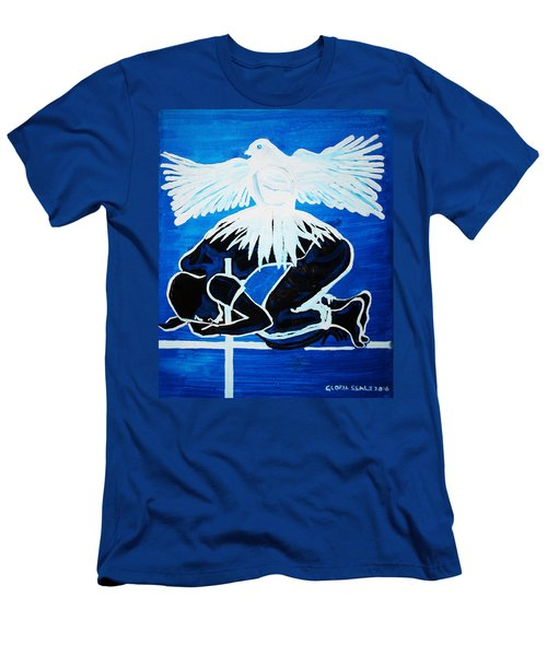 Slain In The Holy Spirit Men's T-Shirt (Slim Fit) by Gloria Ssali