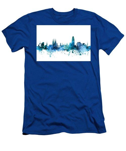 Barcelona Spain Skyline Men's T-Shirt (Athletic Fit)