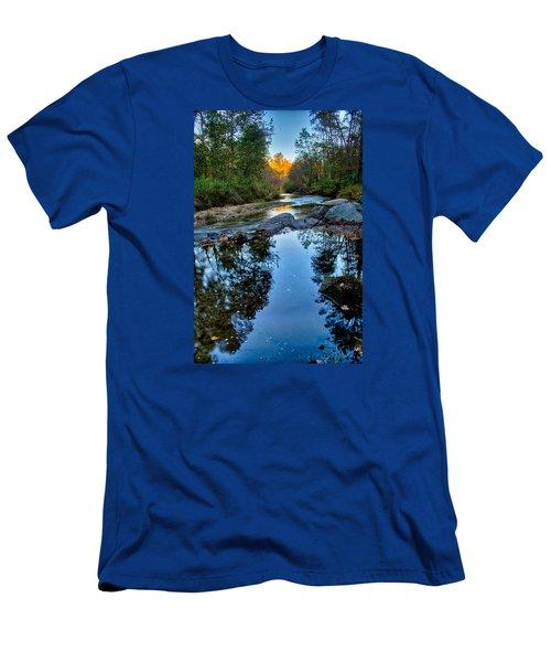 Stone Mountain North Carolina Scenery During Autumn Season Men's T-Shirt (Slim Fit) by Alex Grichenko