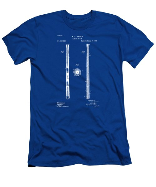 1885 Baseball Bat Patent Artwork - Blueprint Men's T-Shirt (Athletic Fit)