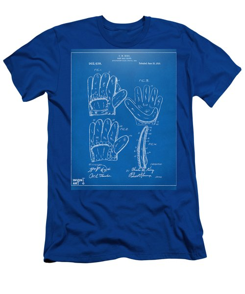 1910 Baseball Glove Patent Artwork Blueprint Men's T-Shirt (Slim Fit) by Nikki Marie Smith