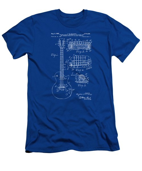1955 Mccarty Gibson Les Paul Guitar Patent Artwork Blueprint Men's T-Shirt (Athletic Fit)