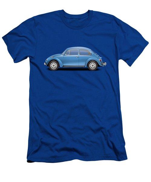 1975 Volkswagen Super Beetle - Ancona Blue Metallic Men's T-Shirt (Slim Fit) by Ed Jackson