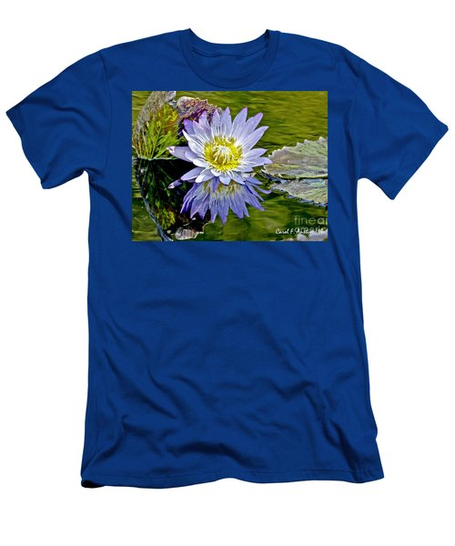Purple Water Lily Pond Men's T-Shirt (Slim Fit) by Carol F Austin