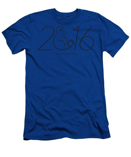 2016 Year Of The Monkey Numerals Line Art Men's T-Shirt (Athletic Fit)