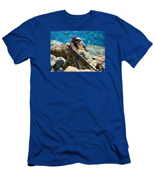 Green Iguana Men's T-Shirt (Slim Fit) by Anthony Dezenzio