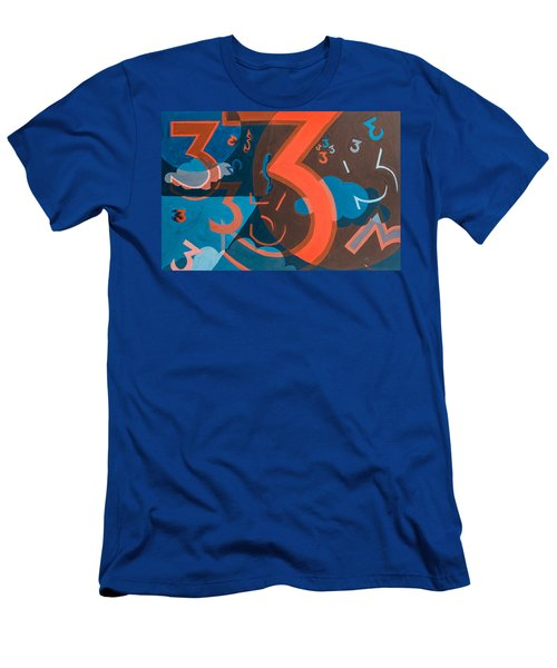 3 In Blue And Orange Men's T-Shirt (Athletic Fit)