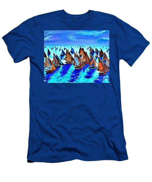 Monet Fishing Boats Calm Seas Men's T-Shirt (Slim Fit) by Scott D Van Osdol