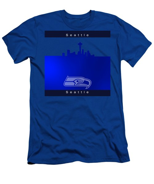 Seattle Seahawks Skyline Men's T-Shirt (Slim Fit) by Alberto RuiZ