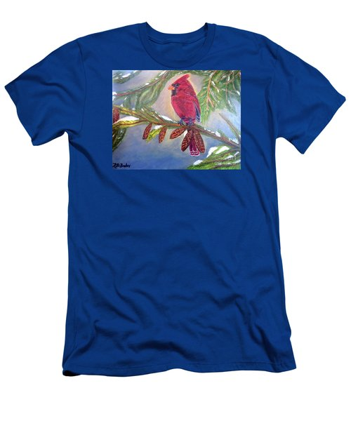 Men's T-Shirt (Slim Fit) featuring the painting A Cardinal's Sweet And Savory Song Of Winter Thawing Painting by Kimberlee Baxter