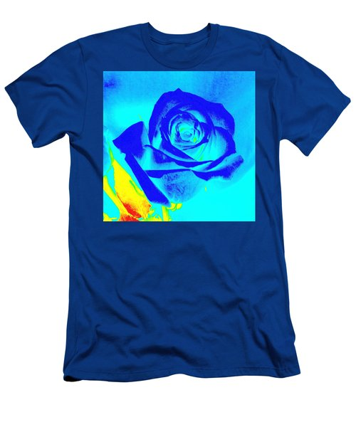 Single Blue Rose Abstract Men's T-Shirt (Athletic Fit)
