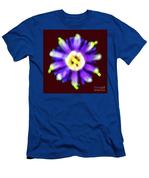 Abstract Passion Flower In Violet Blue And Green 002r Men's T-Shirt (Athletic Fit)