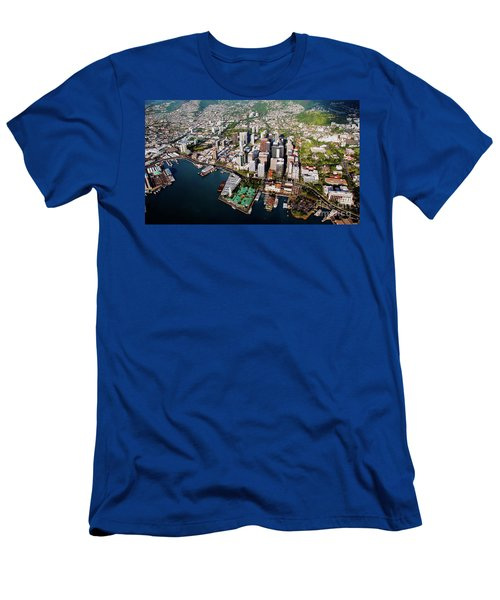 Aerial Panorama - Downtown - City Of Honolulu, Oahu, Hawaii  Men's T-Shirt (Athletic Fit)