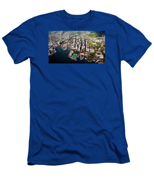 Aerial Panorama - Downtown - Honolulu, Oahu, Hawaii  Men's T-Shirt (Athletic Fit)
