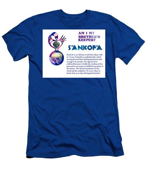 Men's T-Shirt (Slim Fit) featuring the digital art Am I My Brother's Keeper? Aqua by Jacqueline Lloyd