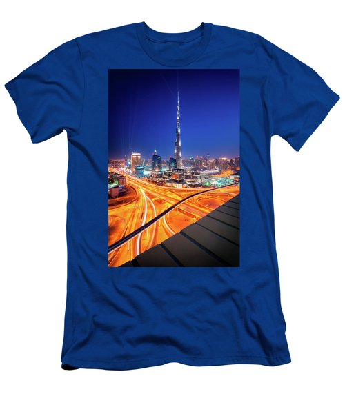 Amazing Night Dubai Downtown Skyline, Dubai, United Arab Emirates Men's T-Shirt (Athletic Fit)