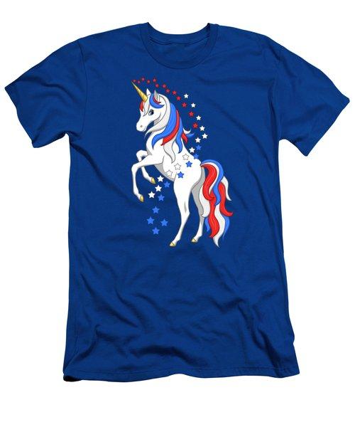 American Flag Patriotic Unicorn Men's T-Shirt (Athletic Fit)