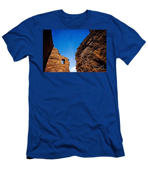 Ancient Native American Pueblo Ruins And Stars At Night Men's T-Shirt (Athletic Fit)