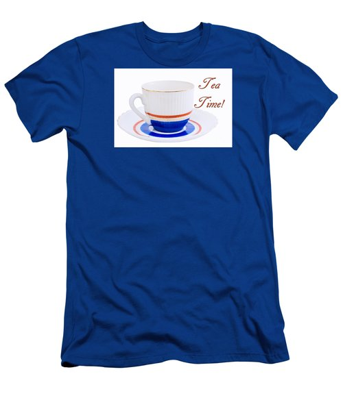 Antique Teacup From Japan With Tea Time Invitation Men's T-Shirt (Athletic Fit)