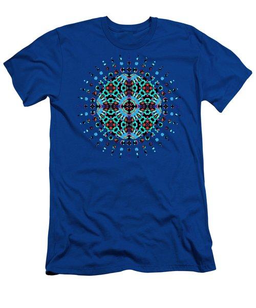 Aqua Geometric Mandala Men's T-Shirt (Athletic Fit)