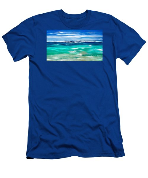 Men's T-Shirt (Slim Fit) featuring the digital art Aqua Waves by Anthony Fishburne