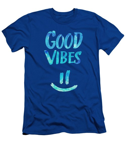 Good Vibes  Funny Smiley Statement Happy Face Blue Stars Edit Men's T-Shirt (Athletic Fit)