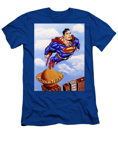 Men's T-Shirt (Athletic Fit) featuring the painting Superman by Teresa Wing