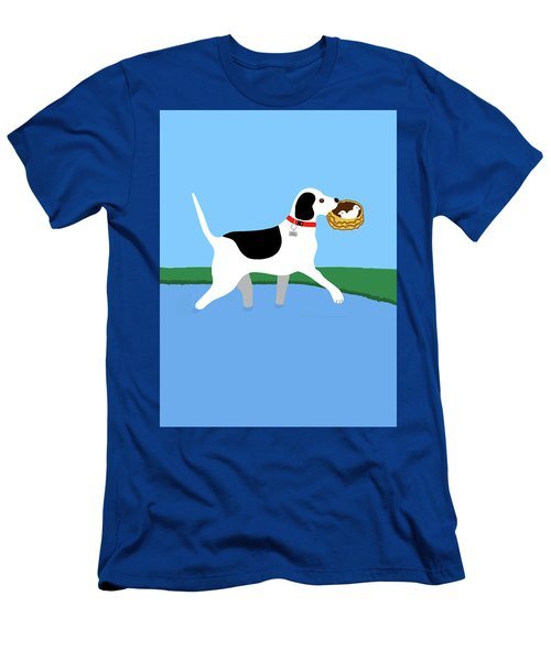 Cartoon Hero Hound Rescues Two Baby Birds Men's T-Shirt (Athletic Fit)