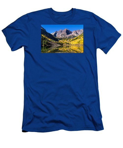 Autumn Morning At The Maroon Bells Men's T-Shirt (Slim Fit) by Teri Virbickis