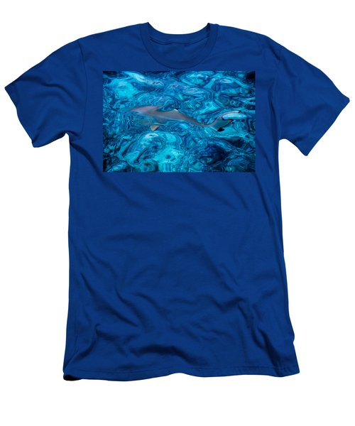 Baby Shark In The Turquoise Water. Production By Nature Men's T-Shirt (Athletic Fit)
