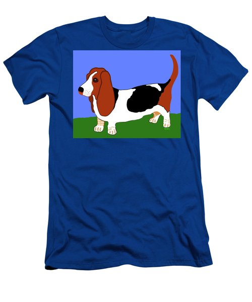 Cartoon Basset Hound In The Yard Men's T-Shirt (Athletic Fit)