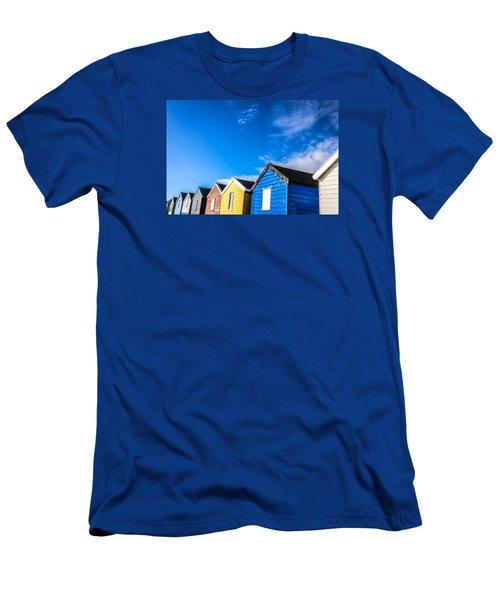 Beach Huts In The Sunlight Men's T-Shirt (Slim Fit) by David Warrington