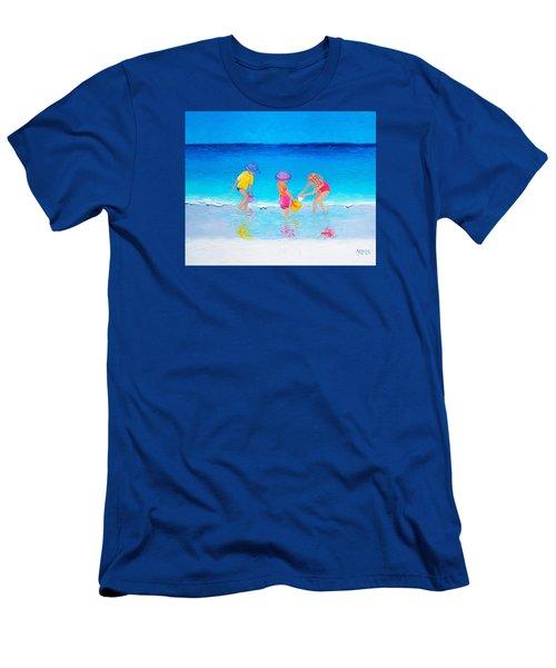 Beach Painting - Water Play  Men's T-Shirt (Slim Fit) by Jan Matson