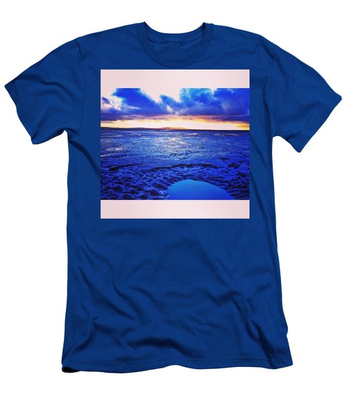 Beach Puddle. #beach #sunset Men's T-Shirt (Athletic Fit)