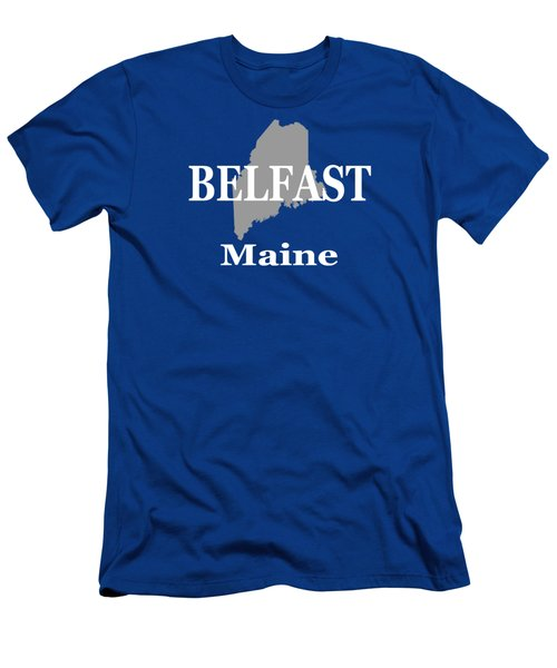Men's T-Shirt (Slim Fit) featuring the photograph Belfast Maine State City And Town Pride  by Keith Webber Jr
