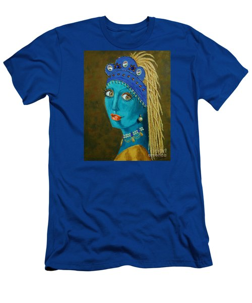 Belly Dancer With A Pearl Earring -- The Original -- Whimsical Redo Of Vermeer Painting Men's T-Shirt (Athletic Fit)