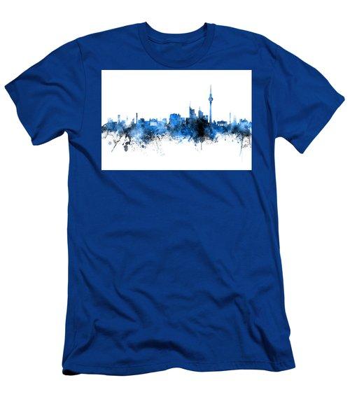 Berlin Germany Skyline Blue Signed Men's T-Shirt (Athletic Fit)