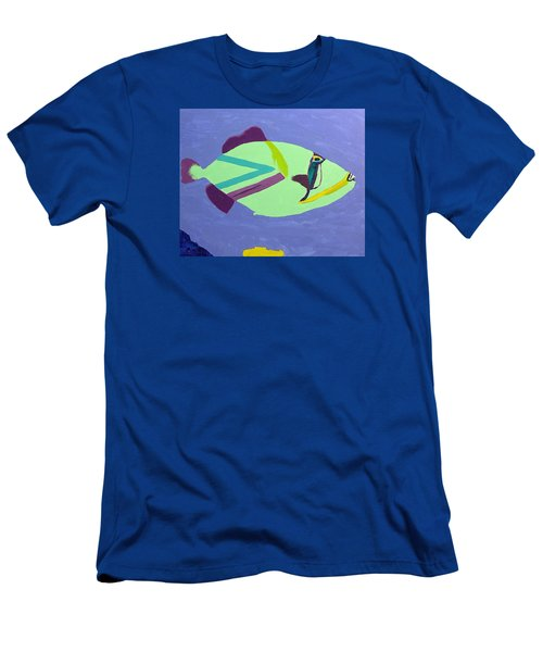 Men's T-Shirt (Slim Fit) featuring the painting Big Fish In A Small Pond by Karen Nicholson