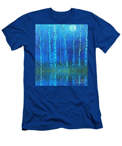 Birches In Moonlight Men's T-Shirt (Slim Fit) by Holly Martinson