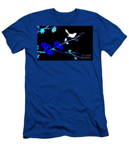 Bird In A Flower Tree Abstract Men's T-Shirt (Slim Fit) by Marsha Heiken