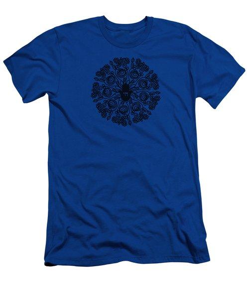 Black And White Hamsa Mandala- Art By Linda Woods Men's T-Shirt (Athletic Fit)