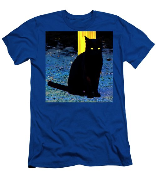 Black Cat Yellow Eyes Men's T-Shirt (Slim Fit) by Gina O'Brien
