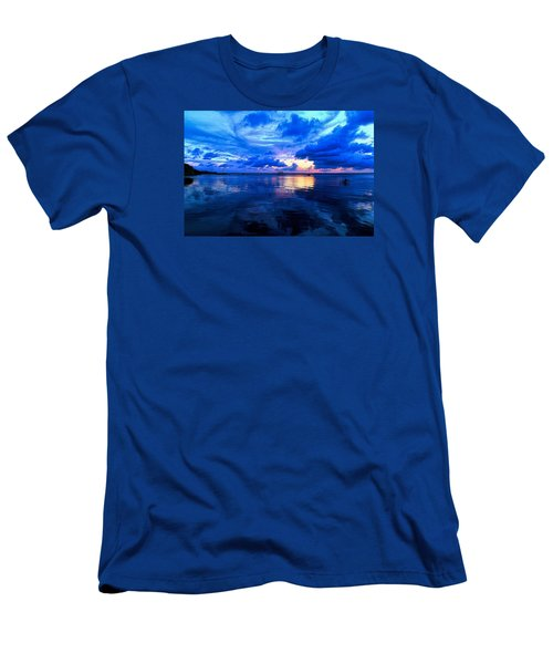 Men's T-Shirt (Slim Fit) featuring the photograph Blazing Blue Sunset by Anthony Baatz