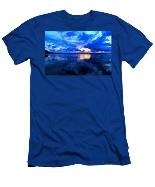 Blazing Blue Sunset Men's T-Shirt (Athletic Fit)