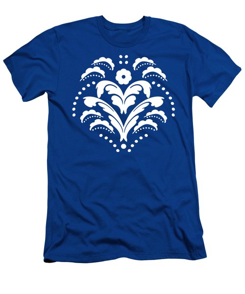 Blue And White Art Deco Damask Men's T-Shirt (Athletic Fit)