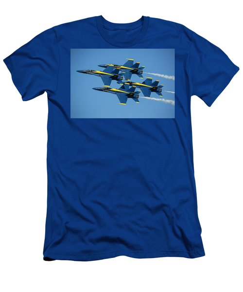 Men's T-Shirt (Athletic Fit) featuring the photograph Blue Angels Diamond Formation by Adam Romanowicz