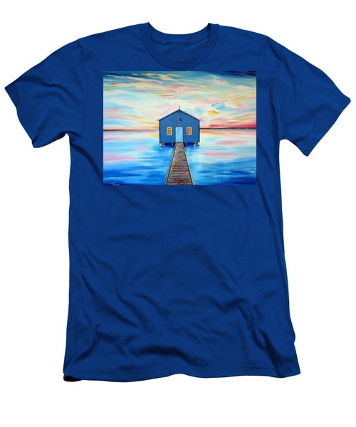 Blue Boat Shed By The Swan River Perth Men's T-Shirt (Athletic Fit)